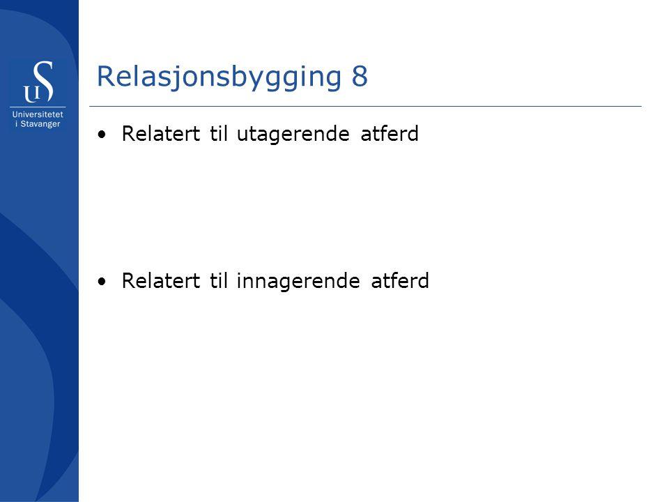 Relasjonsbygging 8 Relatert til utagerende atferd Relatert til innagerende atferd
