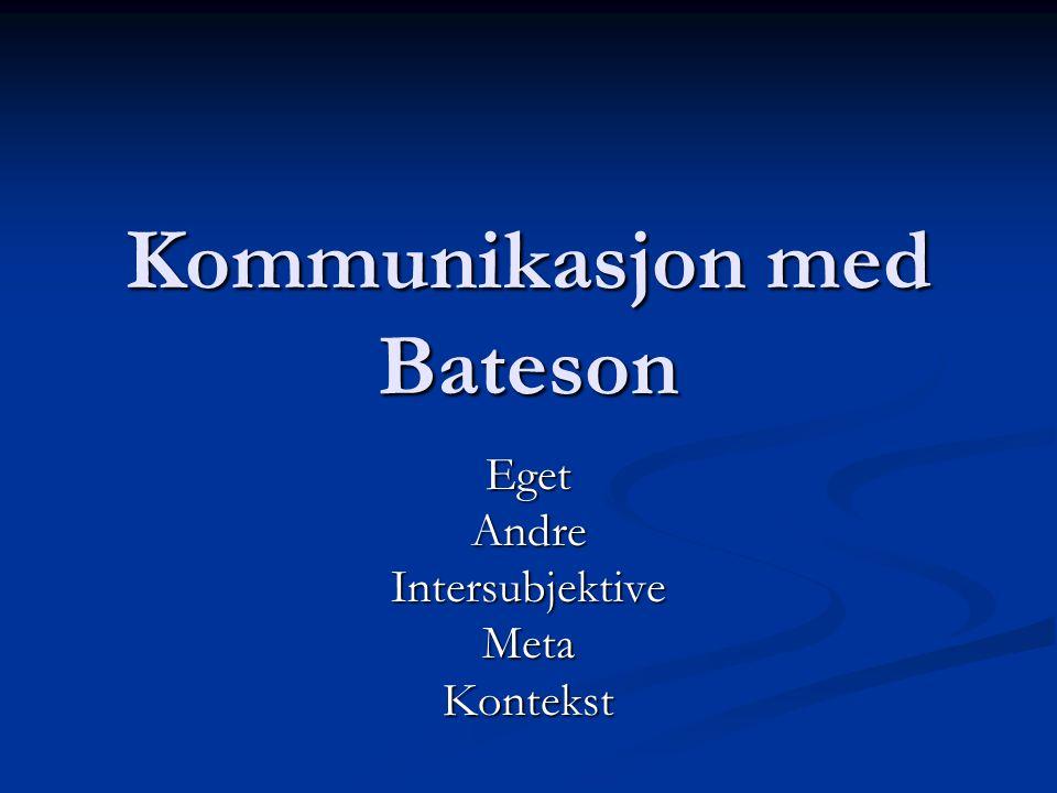 Kommunikasjon med Bateson EgetAndreIntersubjektiveMetaKontekst