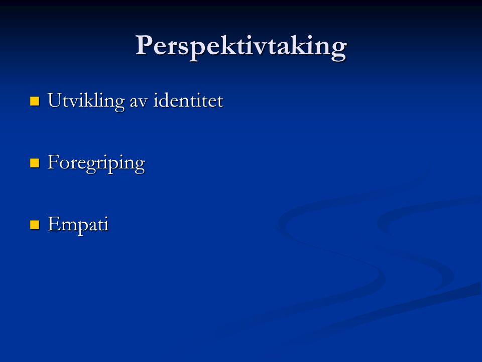 Perspektivtaking Utvikling av identitet Utvikling av identitet Foregriping Foregriping Empati Empati