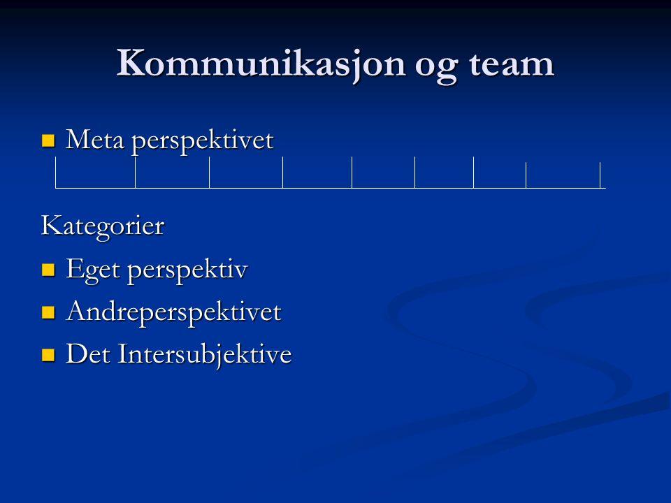 Kommunikasjon og team Meta perspektivet Meta perspektivet Kategorier Eget perspektiv Eget perspektiv Andreperspektivet Andreperspektivet Det Intersubj