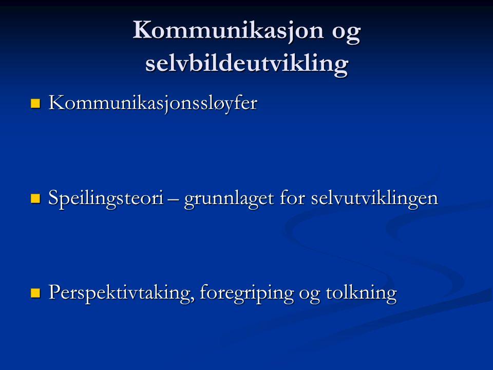 Kommunikasjon og selvbildeutvikling Kommunikasjonssløyfer Kommunikasjonssløyfer Speilingsteori – grunnlaget for selvutviklingen Speilingsteori – grunn