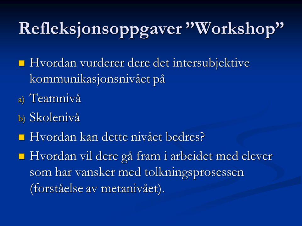 """Refleksjonsoppgaver """"Workshop"""" Hvordan vurderer dere det intersubjektive kommunikasjonsnivået på Hvordan vurderer dere det intersubjektive kommunikasj"""