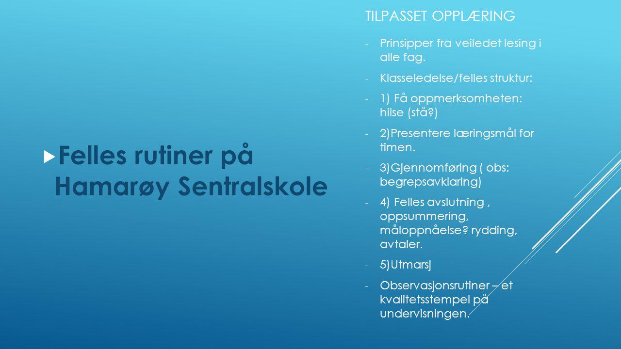 TILPASSET OPPLÆRING  Felles rutiner på Hamarøy Sentralskole - Prinsipper fra veiledet lesing i alle fag. - Klasseledelse/felles struktur: - 1) Få opp