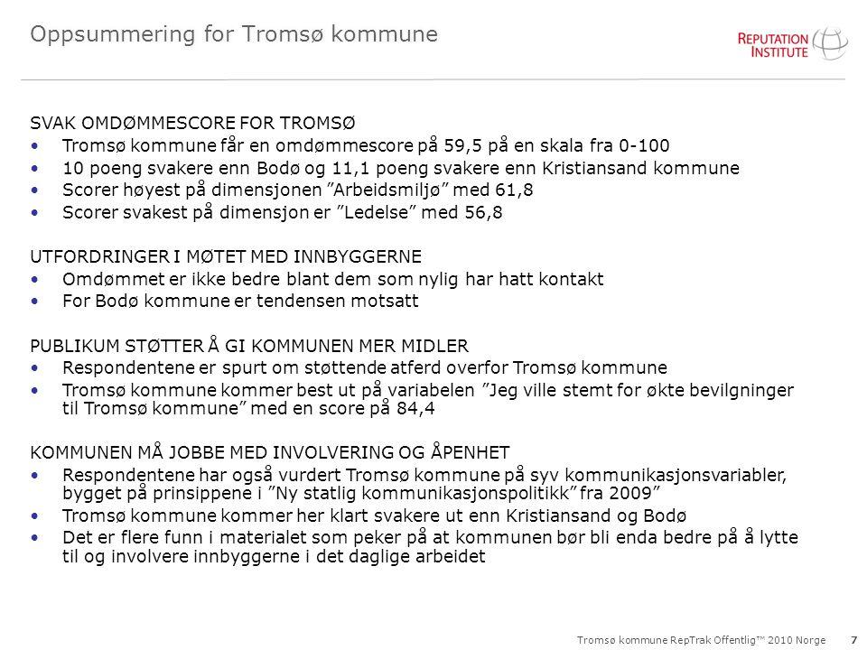 Tromsø kommune RepTrak Offentlig™ 2010 Norge Oppsummering for Tromsø kommune 7 SVAK OMDØMMESCORE FOR TROMSØ Tromsø kommune får en omdømmescore på 59,5 på en skala fra 0-100 10 poeng svakere enn Bodø og 11,1 poeng svakere enn Kristiansand kommune Scorer høyest på dimensjonen Arbeidsmiljø med 61,8 Scorer svakest på dimensjon er Ledelse med 56,8 UTFORDRINGER I MØTET MED INNBYGGERNE Omdømmet er ikke bedre blant dem som nylig har hatt kontakt For Bodø kommune er tendensen motsatt PUBLIKUM STØTTER Å GI KOMMUNEN MER MIDLER Respondentene er spurt om støttende atferd overfor Tromsø kommune Tromsø kommune kommer best ut på variabelen Jeg ville stemt for økte bevilgninger til Tromsø kommune med en score på 84,4 KOMMUNEN MÅ JOBBE MED INVOLVERING OG ÅPENHET Respondentene har også vurdert Tromsø kommune på syv kommunikasjonsvariabler, bygget på prinsippene i Ny statlig kommunikasjonspolitikk fra 2009 Tromsø kommune kommer her klart svakere ut enn Kristiansand og Bodø Det er flere funn i materialet som peker på at kommunen bør bli enda bedre på å lytte til og involvere innbyggerne i det daglige arbeidet