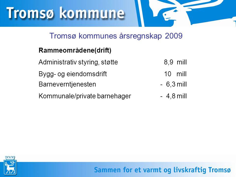 Rammeområdene forts Grunnskole/SFO - 2,5 mill Pleie og omsorg - 29,3 mill Sosiale tjenester(økonomisk sosialhjelp)- 9,7 mill Fysisk planlegging og tilrettelegging- 2,8 mill Øvrige driftsrammer 3,25 mill Tromsø kommunes årsregnskap 2009