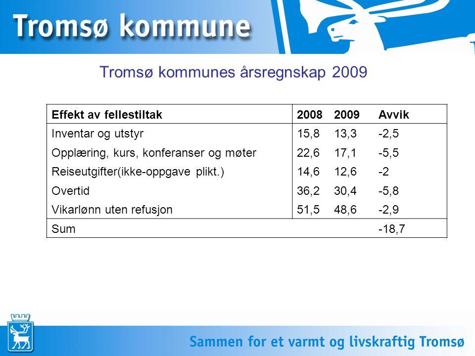 Tromsø kommunes årsregnskap 2009 Effekt av fellestiltak20082009Avvik Inventar og utstyr15,813,3-2,5 Opplæring, kurs, konferanser og møter22,617,1-5,5