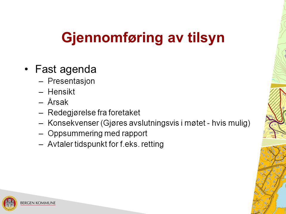 Gjennomføring av tilsyn Fast agenda –Presentasjon –Hensikt –Årsak –Redegjørelse fra foretaket –Konsekvenser (Gjøres avslutningsvis i møtet - hvis muli