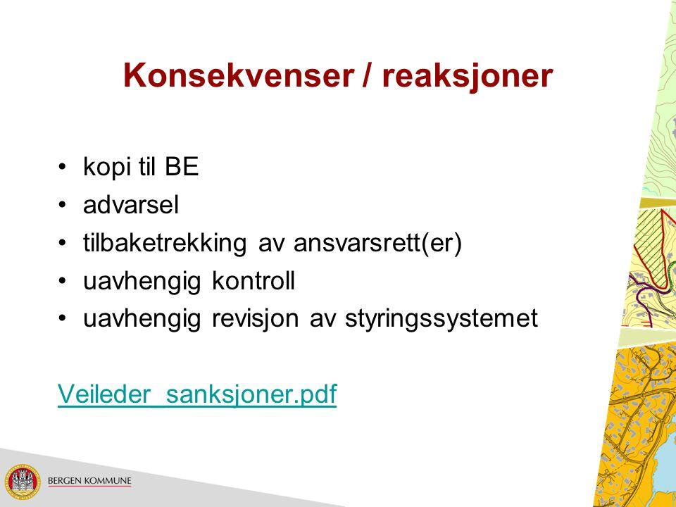 Konsekvenser / reaksjoner kopi til BE advarsel tilbaketrekking av ansvarsrett(er) uavhengig kontroll uavhengig revisjon av styringssystemet Veileder_s
