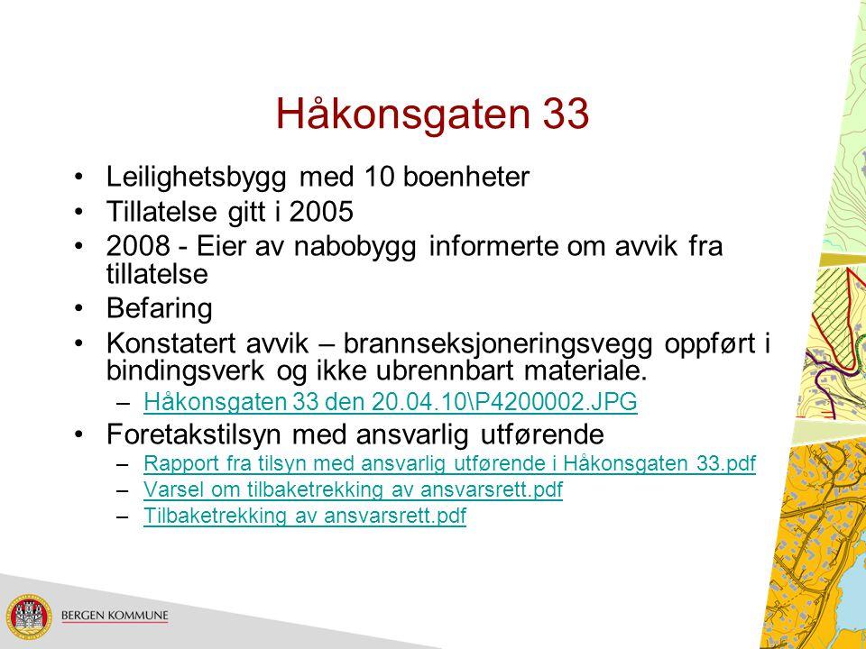 Håkonsgaten 33 Leilighetsbygg med 10 boenheter Tillatelse gitt i 2005 2008 - Eier av nabobygg informerte om avvik fra tillatelse Befaring Konstatert a