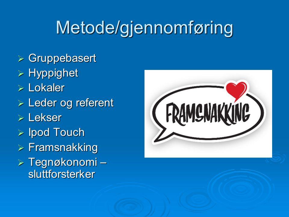 Metode/gjennomføring  Gruppebasert  Hyppighet  Lokaler  Leder og referent  Lekser  Ipod Touch  Framsnakking  Tegnøkonomi – sluttforsterker