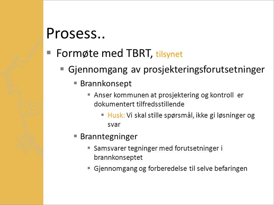Prosess..  Formøte med TBRT, tilsynet  Gjennomgang av prosjekteringsforutsetninger  Brannkonsept  Anser kommunen at prosjektering og kontroll er d