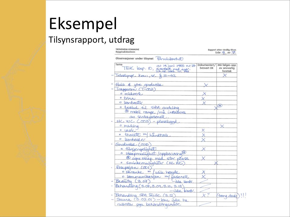 Eksempel Tilsynsrapport, utdrag