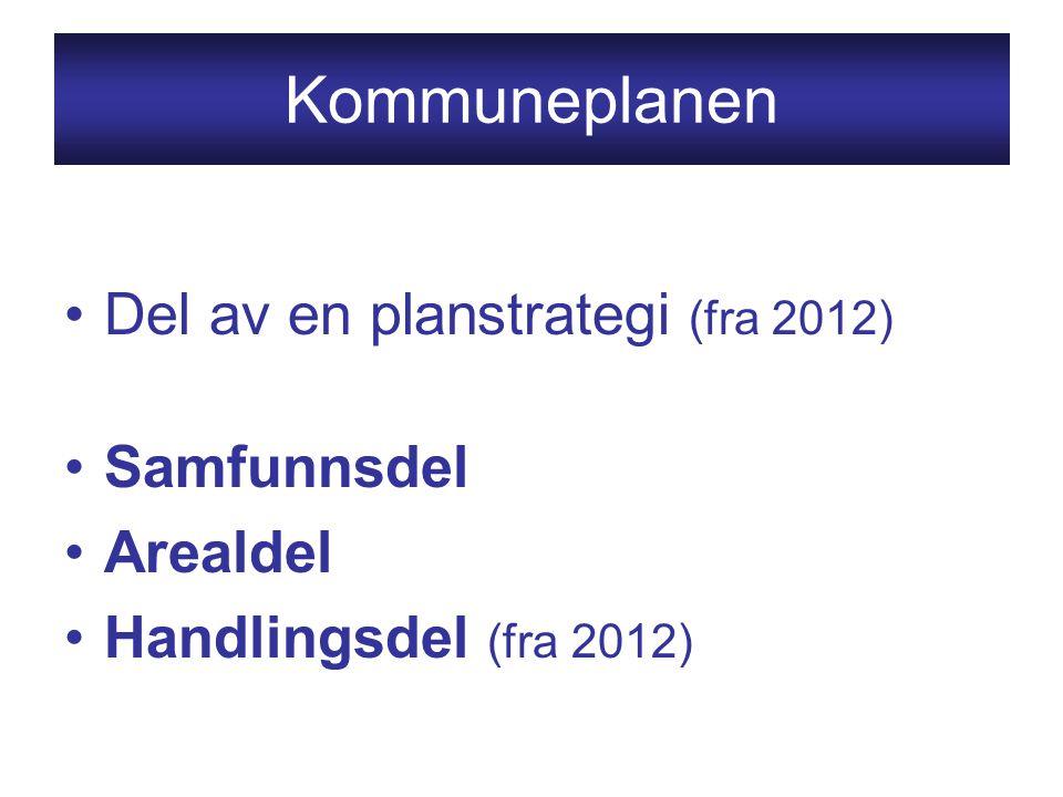 Kommuneplanen Del av en planstrategi (fra 2012) Samfunnsdel Arealdel Handlingsdel (fra 2012)