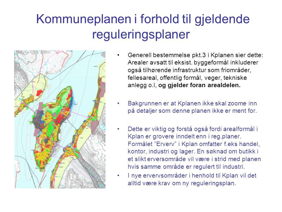 Kommuneplanen i forhold til gjeldende reguleringsplaner Generell bestemmelse pkt.3 i Kplanen sier dette: Arealer avsatt til eksist.