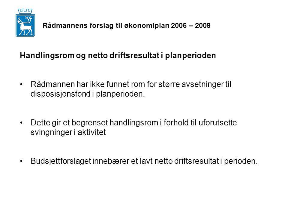 Rådmannens forslag til økonomiplan 2006 – 2009 Handlingsrom og netto driftsresultat i planperioden Rådmannen har ikke funnet rom for større avsetninger til disposisjonsfond i planperioden.