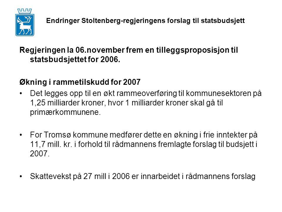 Regjeringen la 06.november frem en tilleggsproposisjon til statsbudsjettet for 2006.
