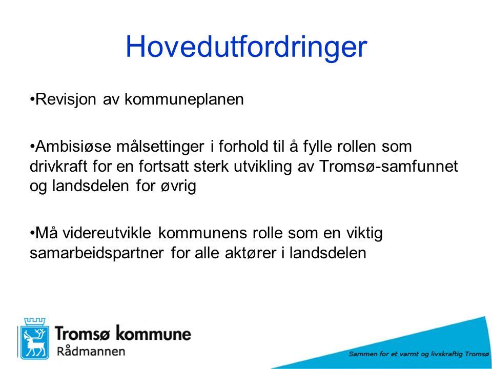 Hovedutfordringer Revisjon av kommuneplanen Ambisiøse målsettinger i forhold til å fylle rollen som drivkraft for en fortsatt sterk utvikling av Tromsø-samfunnet og landsdelen for øvrig Må videreutvikle kommunens rolle som en viktig samarbeidspartner for alle aktører i landsdelen