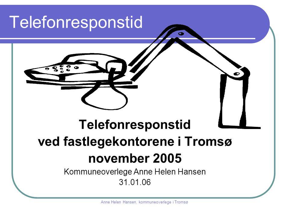Telefonresponstid ved fastlegekontorene i Tromsø november 2005 Kommuneoverlege Anne Helen Hansen 31.01.06 Anne Helen Hansen, kommuneoverlege i Tromsø