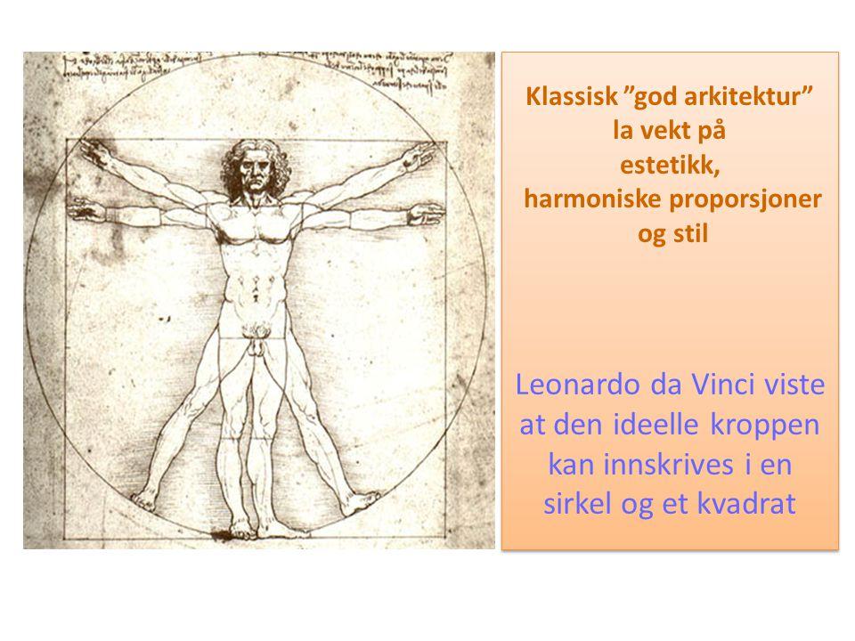 """Klassisk """"god arkitektur"""" la vekt på estetikk, harmoniske proporsjoner og stil Leonardo da Vinci viste at den ideelle kroppen kan innskrives i en sirk"""