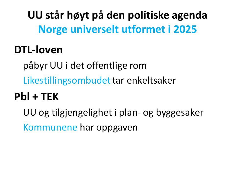 UU står høyt på den politiske agenda Norge universelt utformet i 2025 DTL-loven påbyr UU i det offentlige rom Likestillingsombudet tar enkeltsaker Pbl + TEK UU og tilgjengelighet i plan- og byggesaker Kommunene har oppgaven