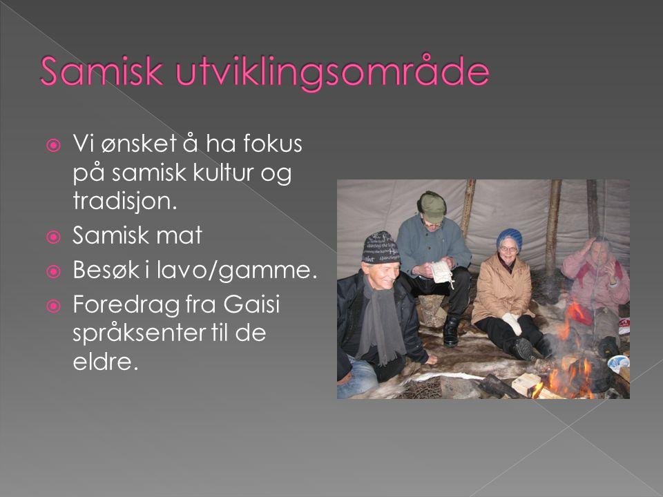  Vi ønsket å ha fokus på samisk kultur og tradisjon.