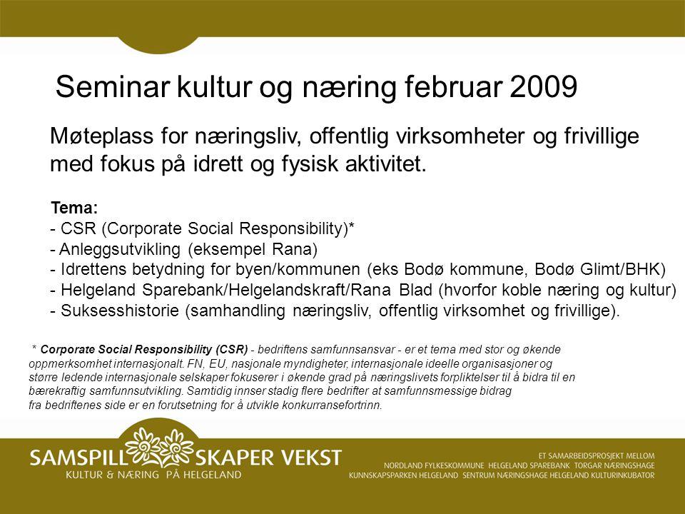 Seminar kultur og næring februar 2009 * Corporate Social Responsibility (CSR) - bedriftens samfunnsansvar - er et tema med stor og økende oppmerksomhet internasjonalt.