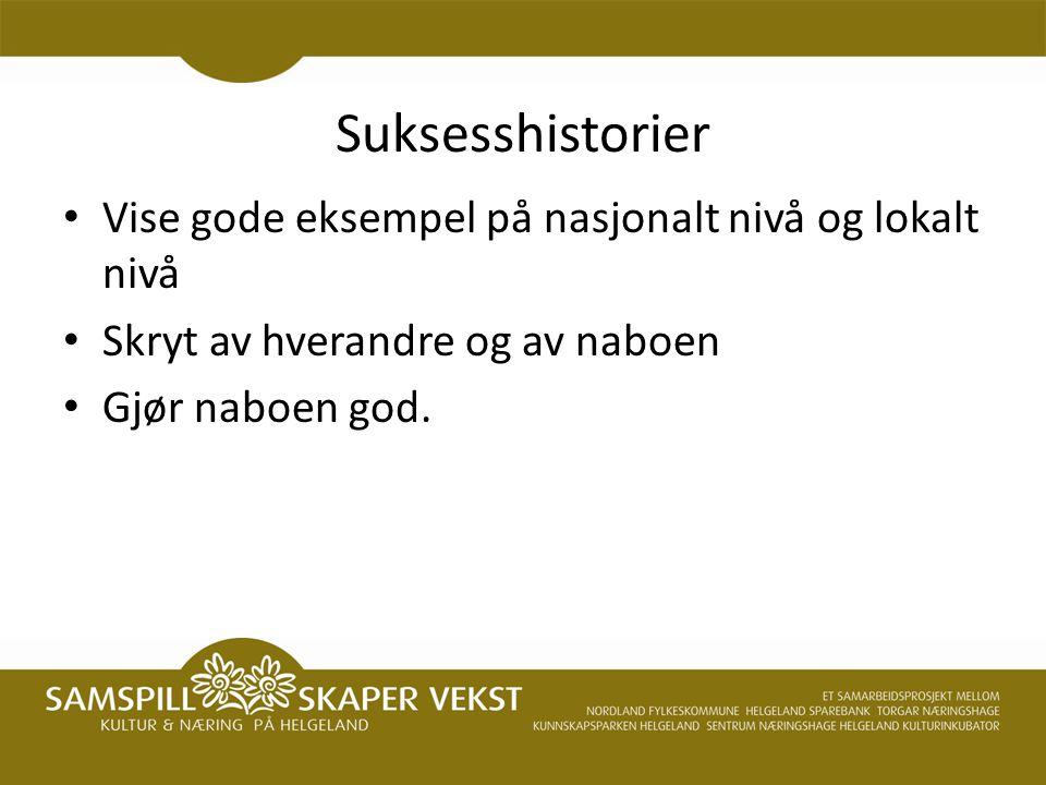 Suksesshistorier Vise gode eksempel på nasjonalt nivå og lokalt nivå Skryt av hverandre og av naboen Gjør naboen god.