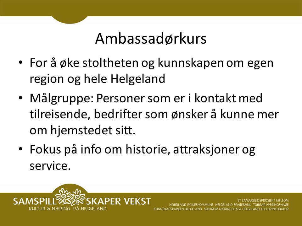 Ambassadørkurs For å øke stoltheten og kunnskapen om egen region og hele Helgeland Målgruppe: Personer som er i kontakt med tilreisende, bedrifter som ønsker å kunne mer om hjemstedet sitt.