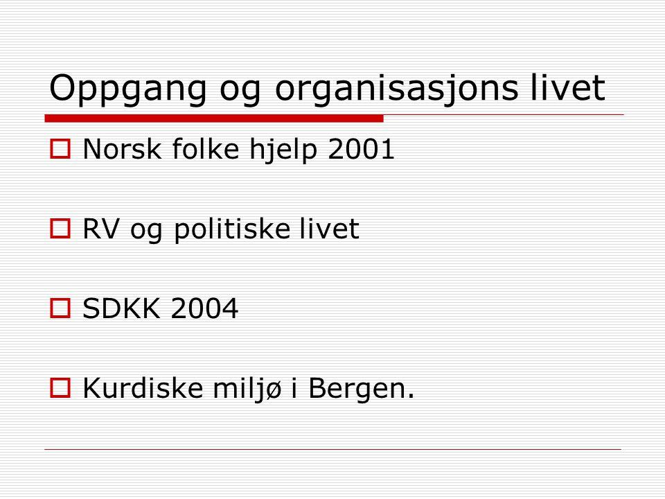Oppgang og organisasjons livet  Norsk folke hjelp 2001  RV og politiske livet  SDKK 2004  Kurdiske miljø i Bergen.