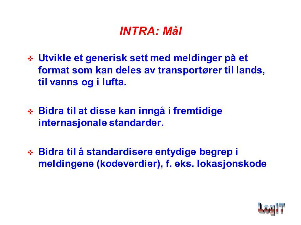 INTRA: Mål  Utvikle et generisk sett med meldinger på et format som kan deles av transportører til lands, til vanns og i lufta.  Bidra til at disse