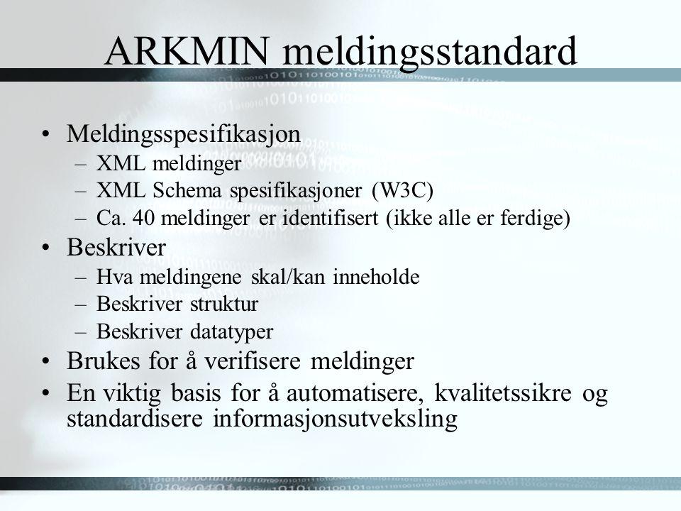 ARKMIN meldingsstandard Meldingsspesifikasjon –XML meldinger –XML Schema spesifikasjoner (W3C) –Ca.