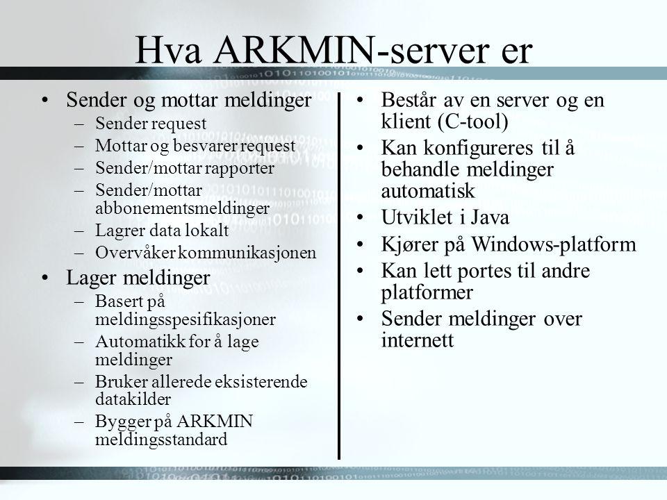 Hva ARKMIN-server er Sender og mottar meldinger –Sender request –Mottar og besvarer request –Sender/mottar rapporter –Sender/mottar abbonementsmeldinger –Lagrer data lokalt –Overvåker kommunikasjonen Lager meldinger –Basert på meldingsspesifikasjoner –Automatikk for å lage meldinger –Bruker allerede eksisterende datakilder –Bygger på ARKMIN meldingsstandard Består av en server og en klient (C-tool) Kan konfigureres til å behandle meldinger automatisk Utviklet i Java Kjører på Windows-platform Kan lett portes til andre platformer Sender meldinger over internett