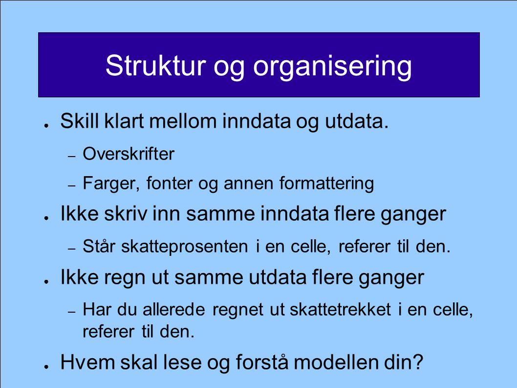 Struktur og organisering ● Skill klart mellom inndata og utdata.