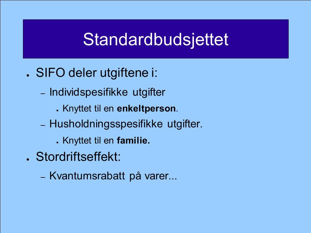 Standardbudsjettet ● SIFO deler utgiftene i: – Individspesifikke utgifter ● Knyttet til en enkeltperson. – Husholdningsspesifikke utgifter. ● Knyttet