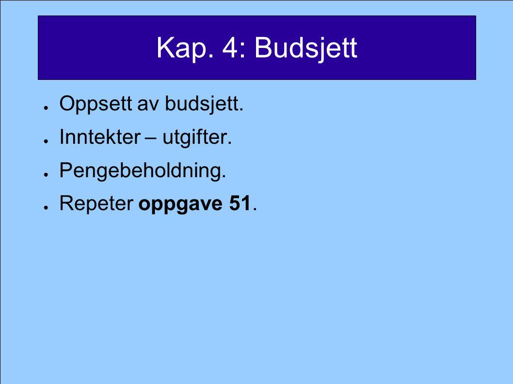 Kap. 4: Budsjett ● Oppsett av budsjett. ● Inntekter – utgifter.