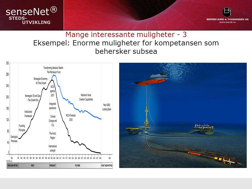 Mange interessante muligheter - 3 Eksempel: Enorme muligheter for kompetansen som behersker subsea