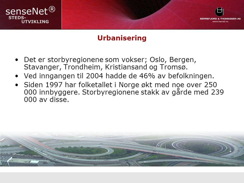 Urbanisering Det er storbyregionene som vokser; Oslo, Bergen, Stavanger, Trondheim, Kristiansand og Tromsø.