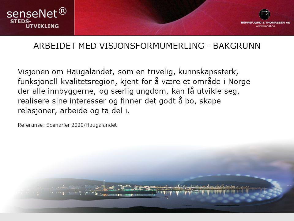 ARBEIDET MED VISJONSFORMUMERLING - BAKGRUNN Visjonen om Haugalandet, som en trivelig, kunnskapssterk, funksjonell kvalitetsregion, kjent for å være et område i Norge der alle innbyggerne, og særlig ungdom, kan få utvikle seg, realisere sine interesser og finner det godt å bo, skape relasjoner, arbeide og ta del i.