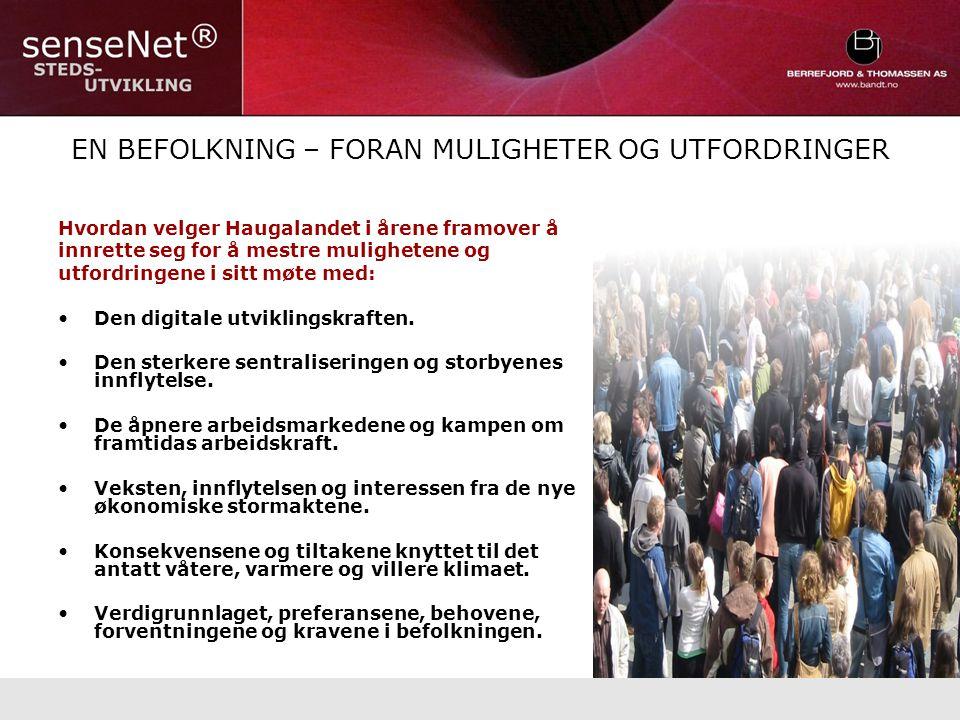 EN BEFOLKNING – FORAN MULIGHETER OG UTFORDRINGER Hvordan velger Haugalandet i årene framover å innrette seg for å mestre mulighetene og utfordringene i sitt møte med: Den digitale utviklingskraften.
