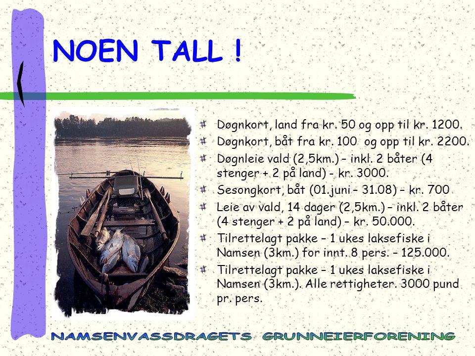 Døgnkort, land fra kr.50 og opp til kr. 1200. Døgnkort, båt fra kr.