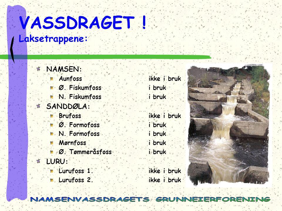 VASSDRAGET .Laksetrappene: NAMSEN: Aunfossikke i bruk Ø.