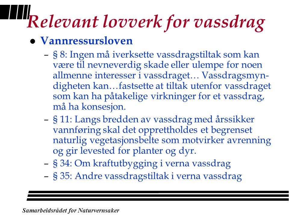 Verneplan for vassdrag - bakgrunn l Arbeidet starta opp rundt 1970 i NVE l Fire verneplaner i Stortinget (73-05) –393 vassdragsobjekt fått vern l Vern