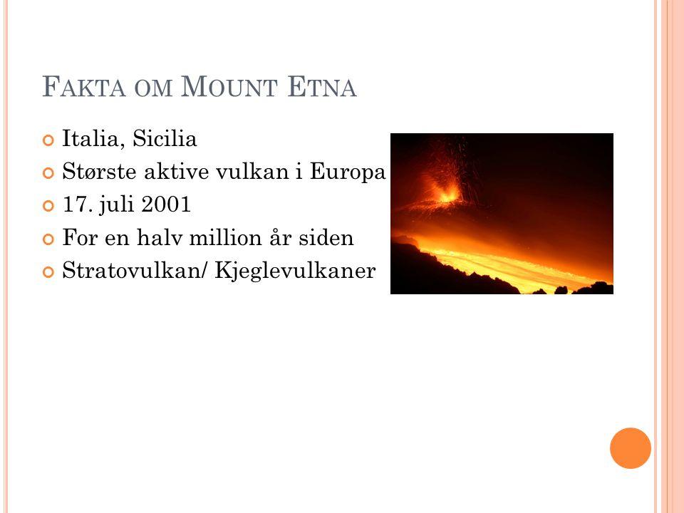 F AKTA OM M OUNT E TNA Italia, Sicilia Største aktive vulkan i Europa 17. juli 2001 For en halv million år siden Stratovulkan/ Kjeglevulkaner