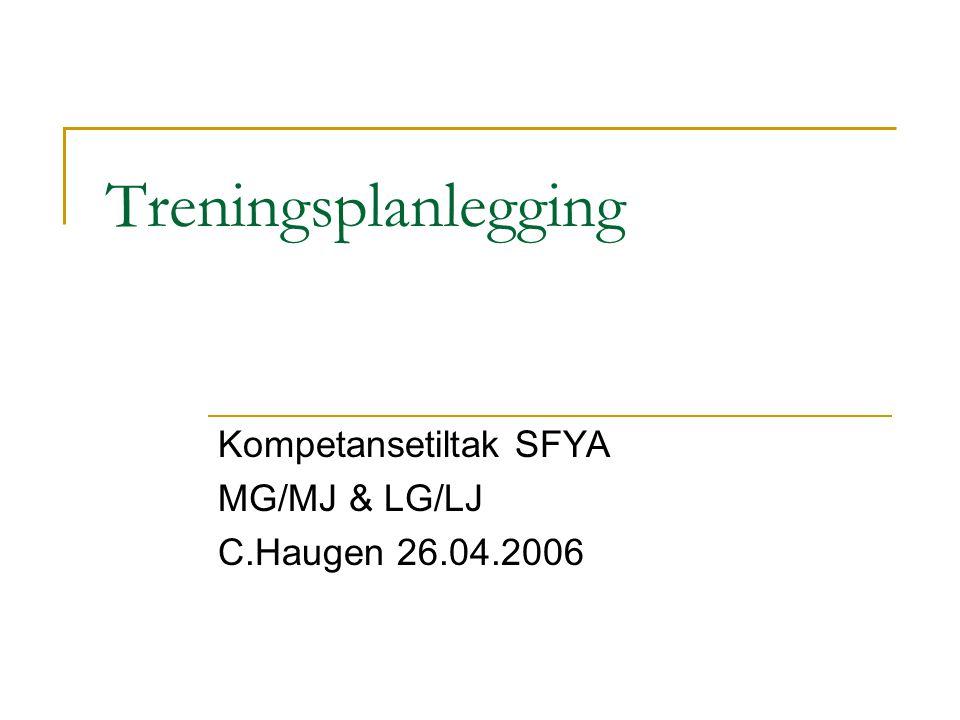 Treningsplanlegging Kompetansetiltak SFYA MG/MJ & LG/LJ C.Haugen 26.04.2006