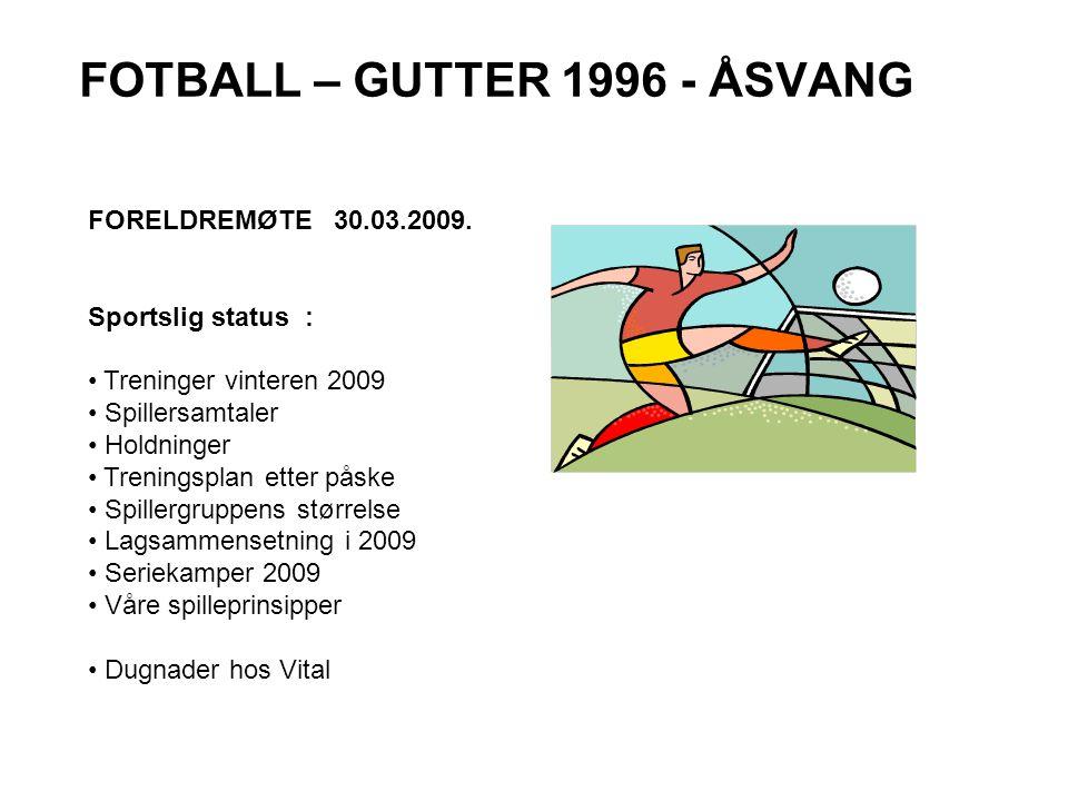FOTBALL – GUTTER 1996 - ÅSVANG FORELDREMØTE 30.03.2009.