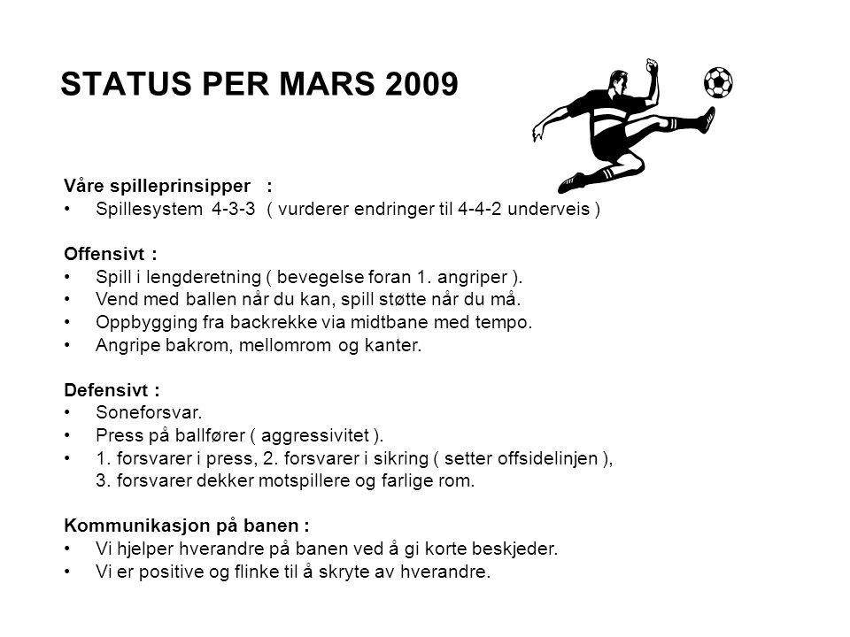 STATUS PER MARS 2009 Våre spilleprinsipper : Spillesystem 4-3-3 ( vurderer endringer til 4-4-2 underveis ) Offensivt : Spill i lengderetning ( bevegelse foran 1.