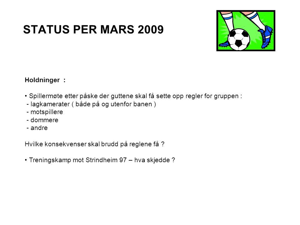 STATUS PER MARS 2009 Holdninger : Spillermøte etter påske der guttene skal få sette opp regler for gruppen : - lagkamerater ( både på og utenfor banen ) - motspillere - dommere - andre Hvilke konsekvenser skal brudd på reglene få .