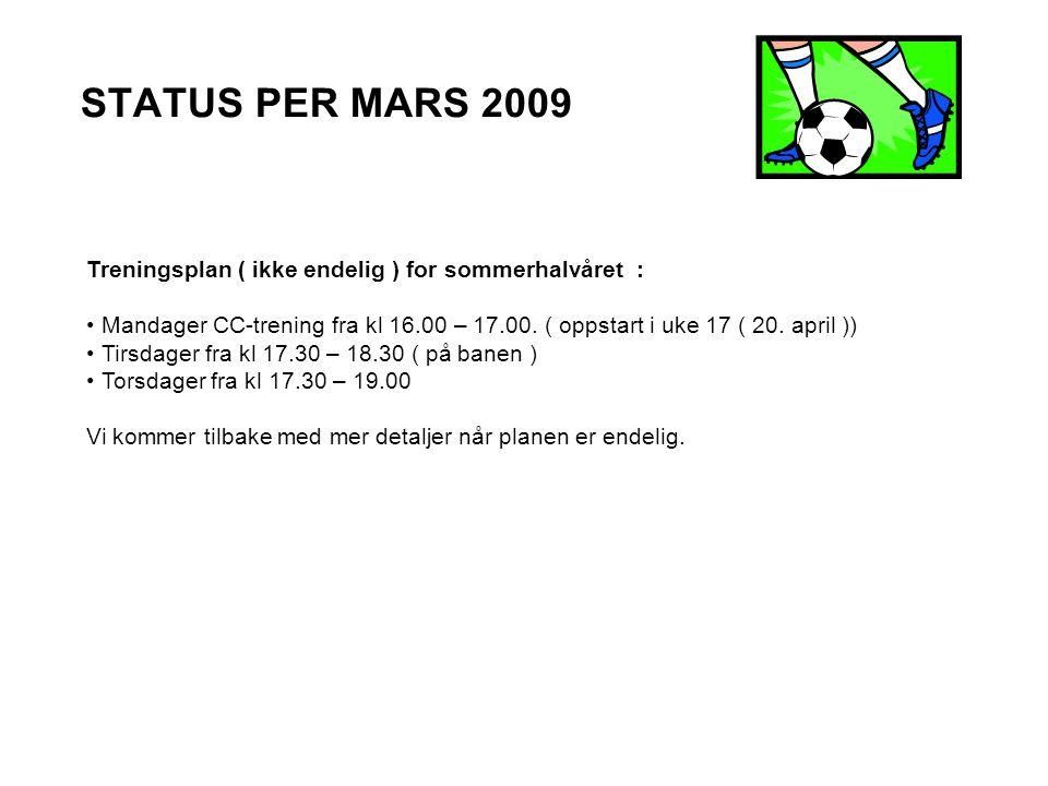 STATUS PER MARS 2009 Treningsplan ( ikke endelig ) for sommerhalvåret : Mandager CC-trening fra kl 16.00 – 17.00.
