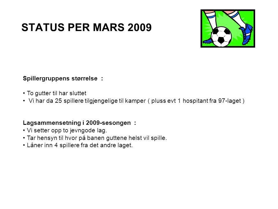 STATUS PER MARS 2009 Spillergruppens størrelse : To gutter til har sluttet Vi har da 25 spillere tilgjengelige til kamper ( pluss evt 1 hospitant fra 97-laget ) Lagsammensetning i 2009-sesongen : Vi setter opp to jevngode lag.