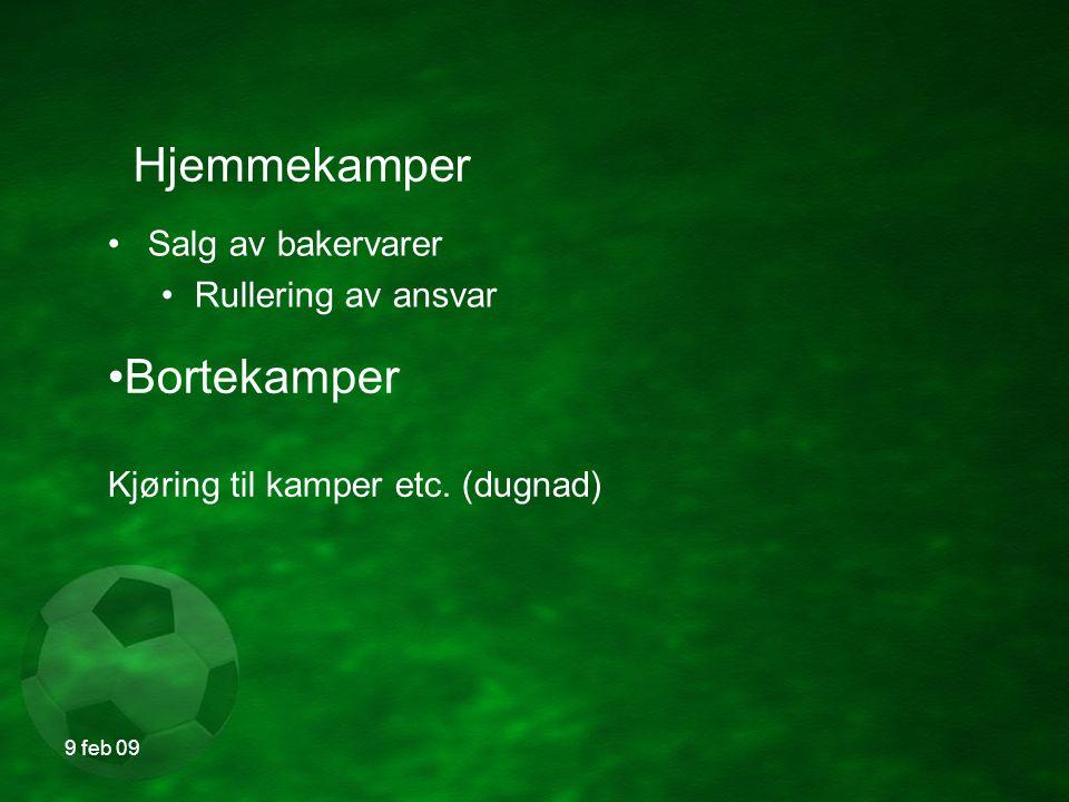 9 feb 09 Sosialt Fotballsamling Filmkveld Avslutning etter 2009 sesongen Forslag mottas med takk.